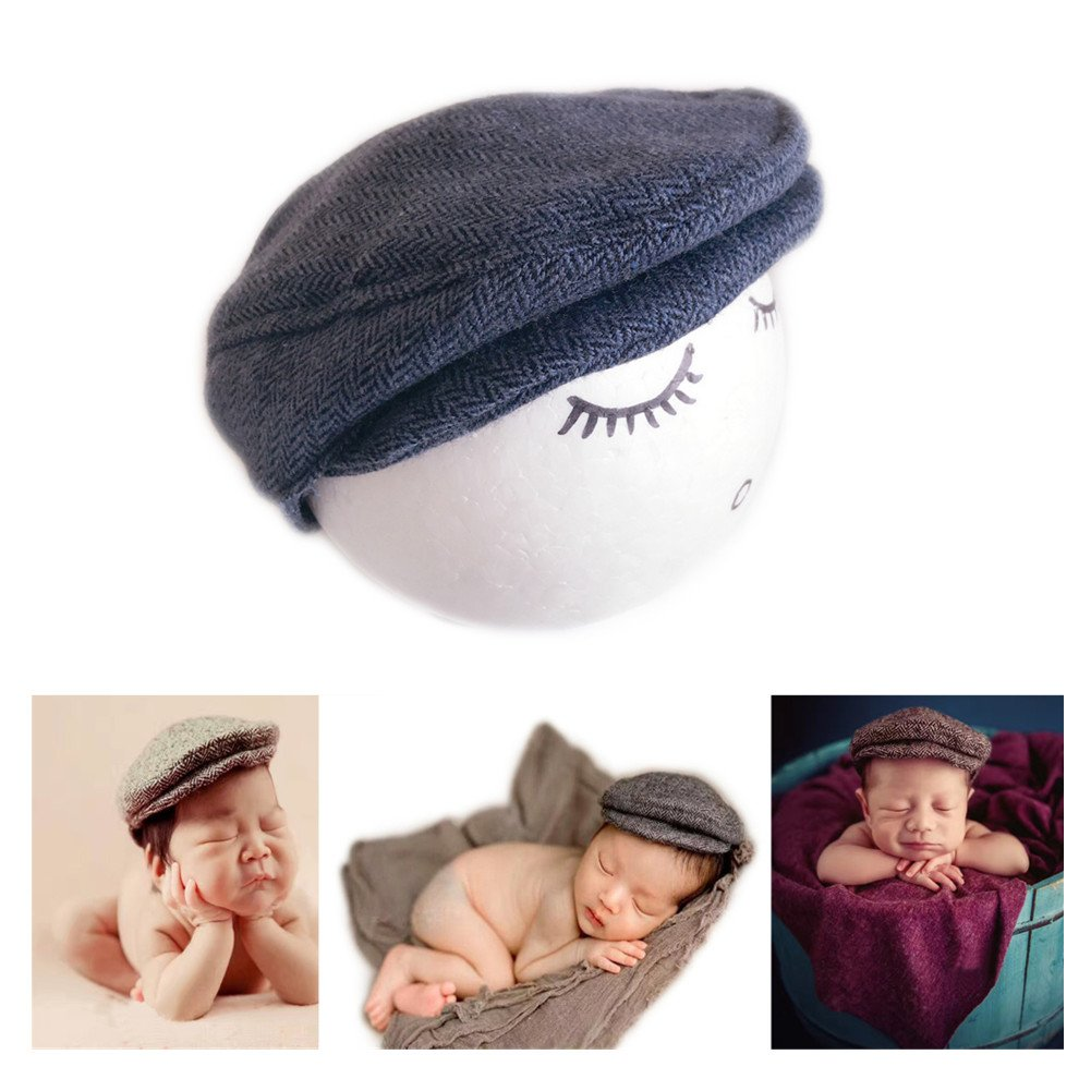Vemonllas Fashion Newborn Boy Girl Costume Outfits Baby Photography Props Hat Gentleman Cap JM-915