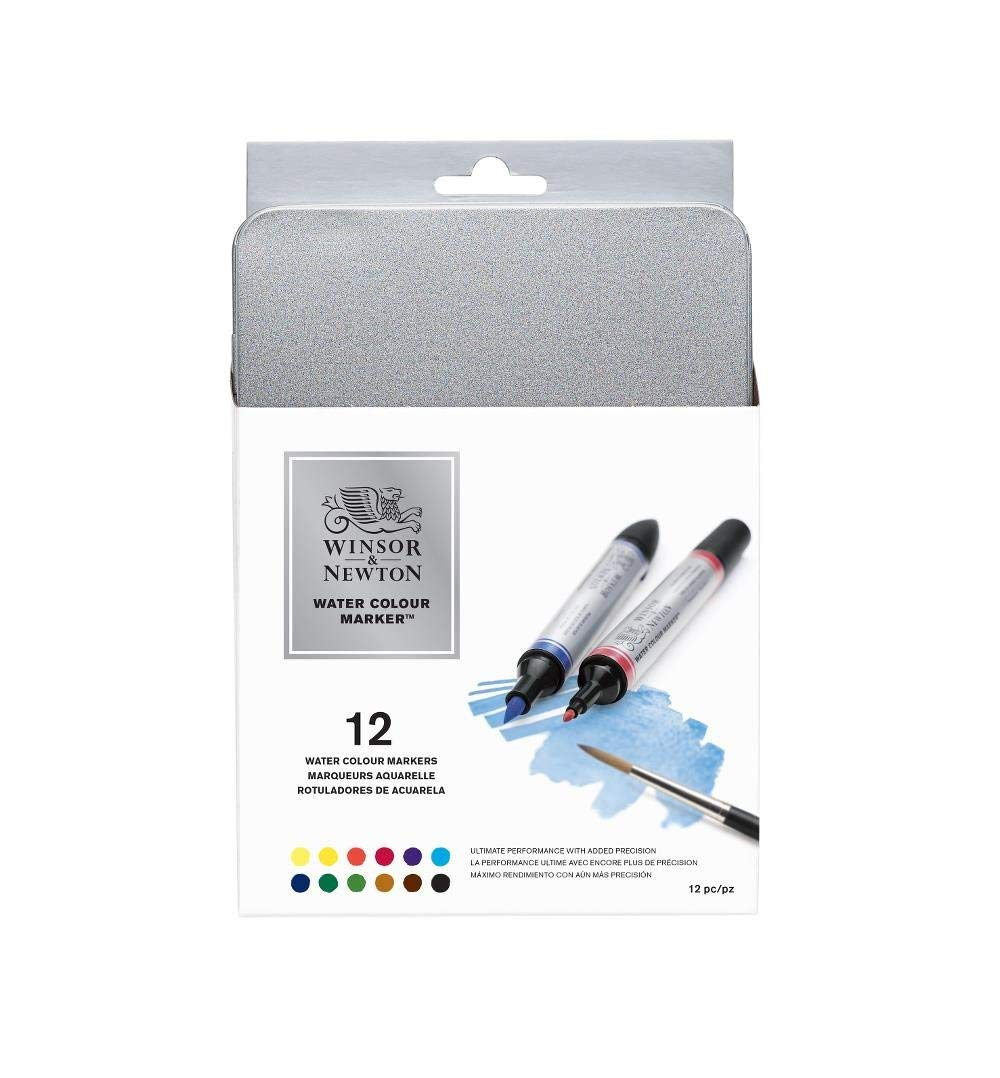Winsor & Newton Water Colour Brush Markers, Set of 12