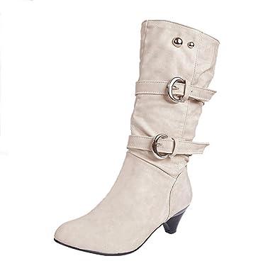 ShallGood Femme Hiver Sexy Chaudes Bottes Bottines Talon haut Chaussures  Footwear Chaussures Longue Boots Blanc EU 7804b232ccda