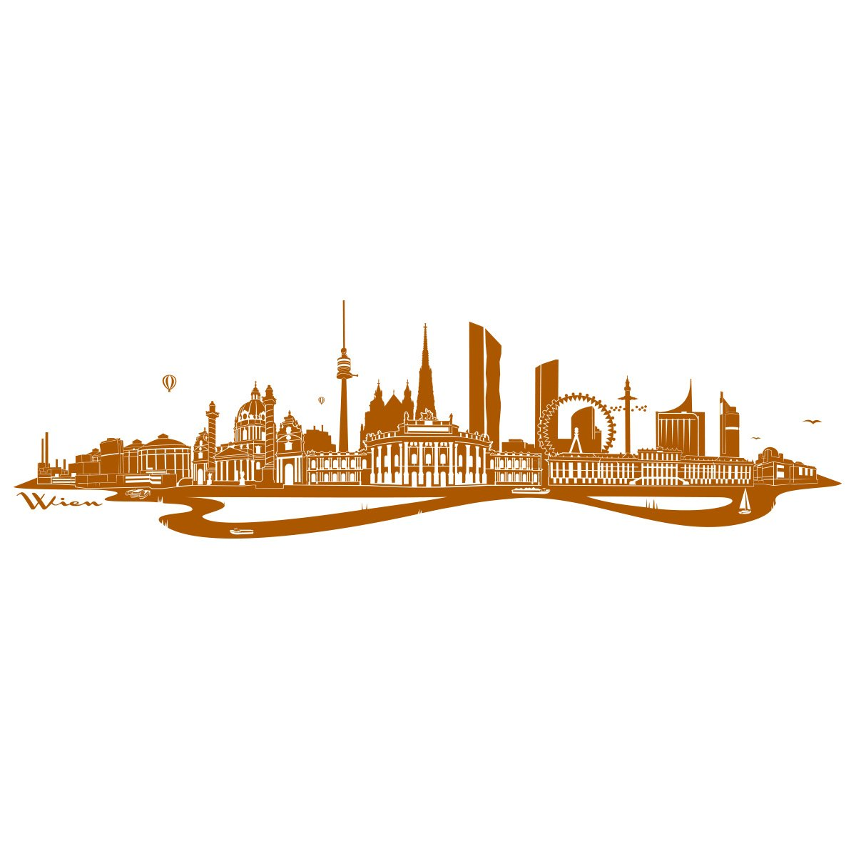 WANDKINGS Wandtattoo - Skyline Wien (mit Fluss) Fluss) Fluss) - 300 x 86 cm - Mittelgrau - Wähle aus 6 Größen & 35 Farben B078SH4WQJ Wandtattoos & Wandbilder 5ed6c7