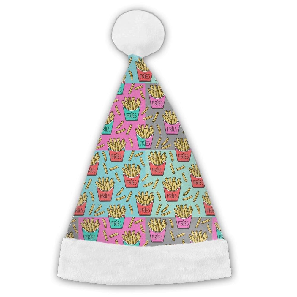 Pop Art French Fries Fast Food Junk Food Christmas Hat Velvet Santa Hat S Size For Kid,M Size For Adult