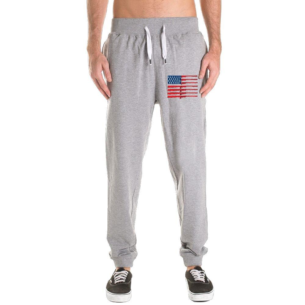 Xianjingshui Gun American Flag Men's Jogger Sweatpants Drawstring Elastic Waist Outdoor Running Trousers Pants With Pockets