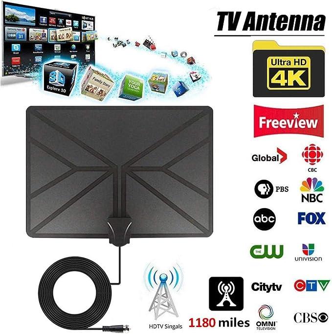 Falliback - Antena de TV Digital 4K a Cubierta HDTV, 1180 Millas con Amplificador señal Booster TV Radius Surf Fox Antena HD TV Antena Apta para 720p, 1080i y 1080p / Atsc: