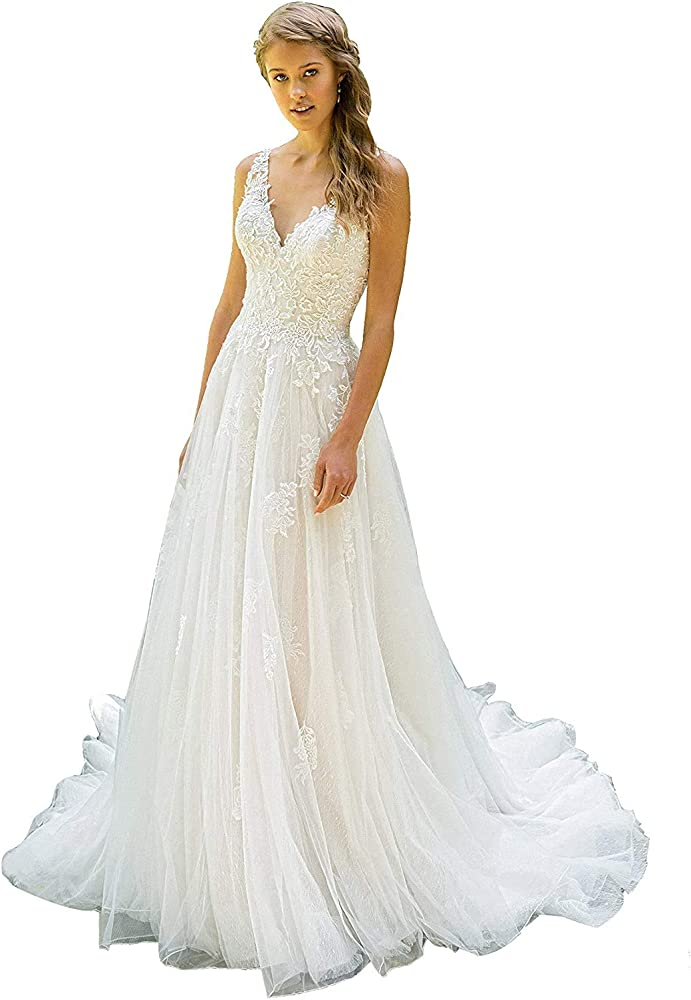 White Ivory A-Line Wedding Dresses Applique Strapless Lace Beaded Bridal Gowns