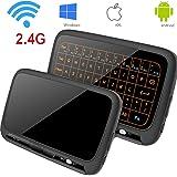 Kabellose Tastatur, Topselerstore H18 + 2.4GHz Full Touchpad Hintergrundbeleuchtung Mini-Tastatur mit großen Touchpad Fernbedienung für Smart TV Android TV Box PC Laptop