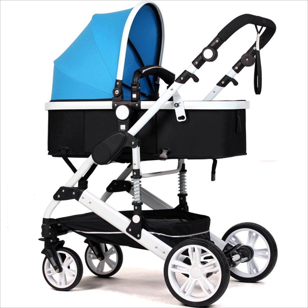 新生児の赤ちゃんキャリッジ折りたたみ可能な座って、1ヶ月のためのダンピングの赤ちゃんカートに落ちることができます 3歳の赤ちゃんの双方向四輪ベビートロリーを振るのを避ける (色 : 青) B07DV8WD82 青 青