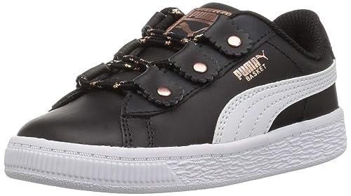 4b5592e88484 PUMA Girls  Basket Loops Sneaker Black White-Rose Gold