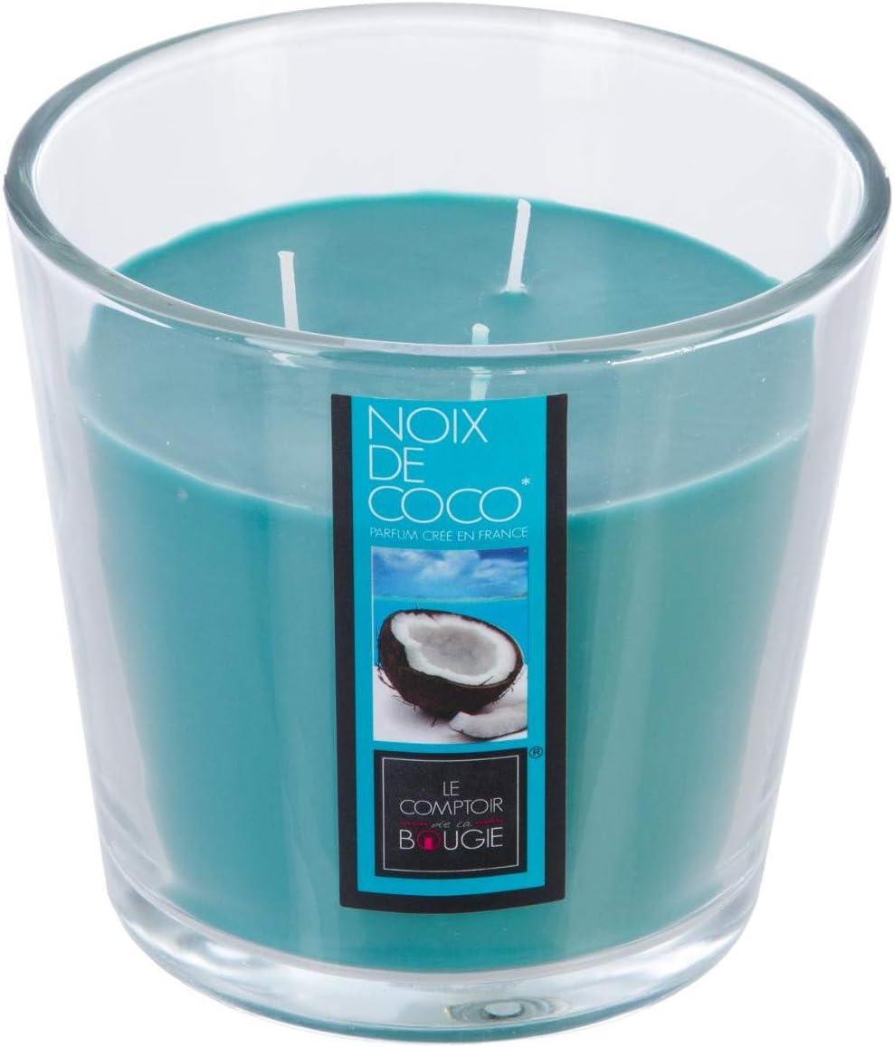 Bougie 3 m/èches 500 g parfum Noix de Coco avec vase en verre.