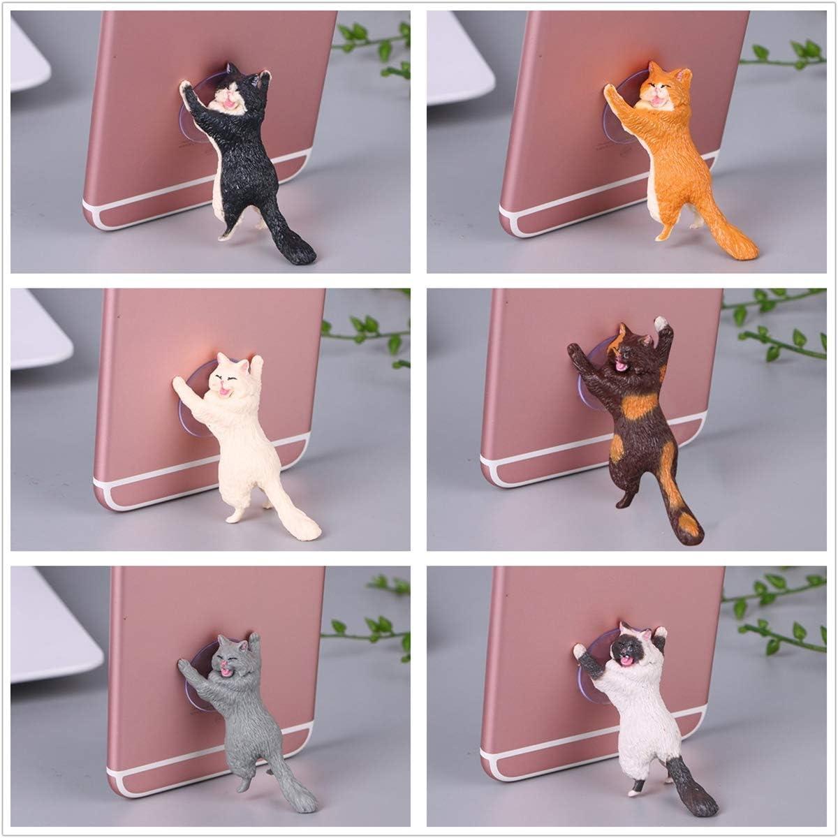 LSQR Cute Cat Phone Holder Support Mobile Phone Holder Stand Sucker Tablets Desk Sucker Design Smartphone Holder,6PCS