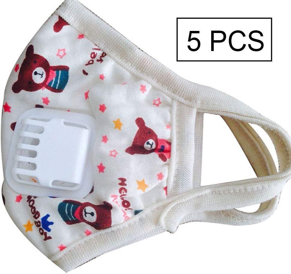 Wj Filtros de Aire para niños Filtro Transpirable Protector de algodón Puro Media Cara a Prueba de contaminación Cara Boca Nariz Cubierta Anti-Niebla a Prueba Polvo Reutilizable Kids Shield 5PCS