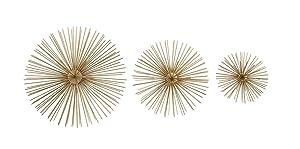 Zeckos 3 Piece Gold Finish Spiked Metal Sea Urchin Wall Sculpture Set
