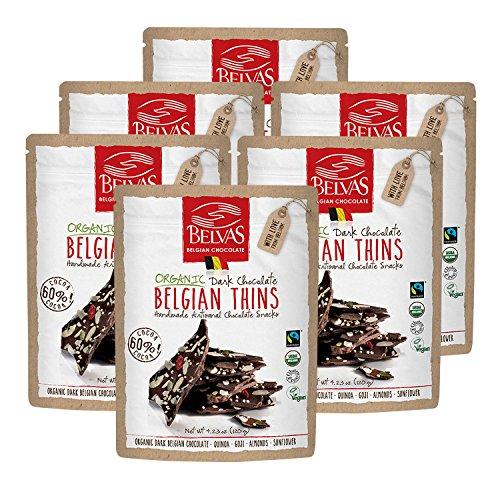 Belvas Belgian Thins Organic Dark Chocolate with Quinoa and Goji, 4.23 oz – 6Pk Review