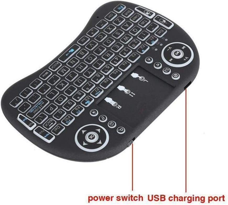 Changing Color Mini i8 2.4G Air Mouse Wireless Keyboard with Touchpad Black