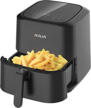 MILIN Air Fryer 5.8 Quart, 1700-Watt Electric Hot Airfryers Oven with LED Digital Screen and Temperature Control, 7 Presets, Nonstick Basket, 100 Recipes & ETL Certified