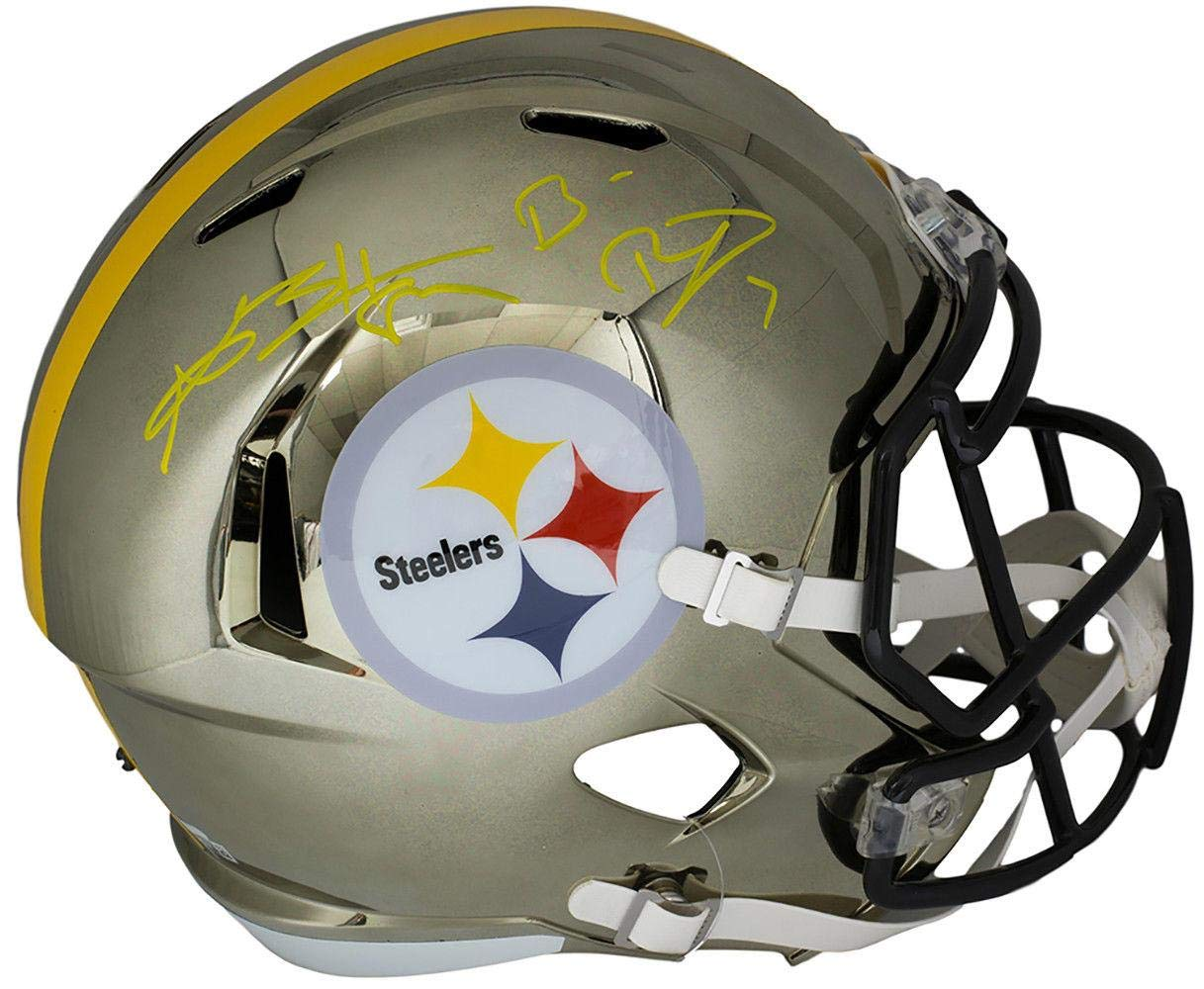 Antonio Brown Ben Roethlisberger Signed Steelers FS Chrome Helmet Fanatics BAS Fanatics Authentic Certified