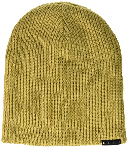 neff Men's Unisex Double Heather Slouchy Beanie Hat, Tan/Twill, One Size (Twill Beanie Cotton)