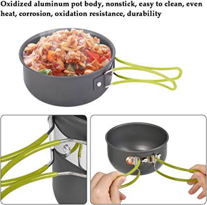 TIMESETL Camping Cooking Utensils Kit with 1.2L Camping Pots and 0.6L Aluminum Frying Pan Camping and Travel Camping Pans for 1-2 People Portable And Foldable