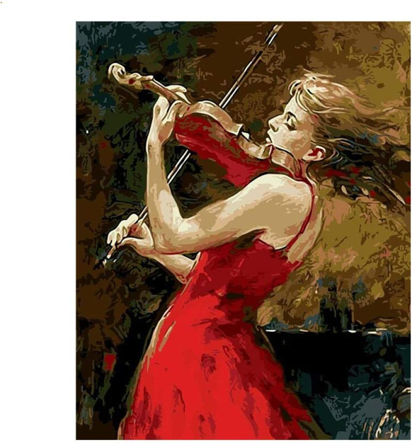 Adult Painting By Numbers Kits Red Violin Girl Figure Color Canvas Painting Gift Home Decor Beginners Acrylic Without Frame 40x50cm For Children Zhxx Amazon Co Uk Kitchen Home