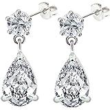 Silver Dangle drop stud earrings by BodyTrend
