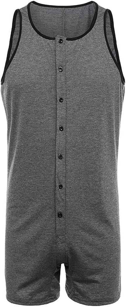 Anywow Herren Knopf Overall L/ässige Overall Strampler Playsuit Fitness Sport Bodysuit Jumpsuit Bodys Slim Einteiler