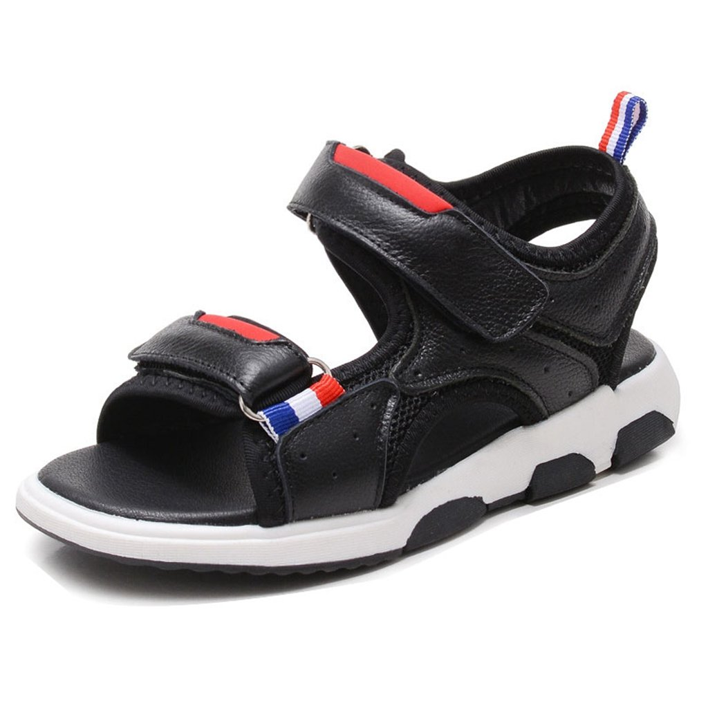 Boys Girls Synthetic Leather Sandals Summer Athletic Open-Toe Summer Adjustable Strap Kids Shoes