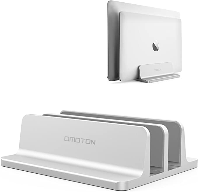Amazon.com: [Updated Dock Version] Vertical Laptop Stand, OMOTON Double Desktop Stand Holder with Adjustable Dock (Up to 17.3 inch), Fits All MacBook/Surface/Samsung/HP/Dell/Chrome Book (Silver): Office Products
