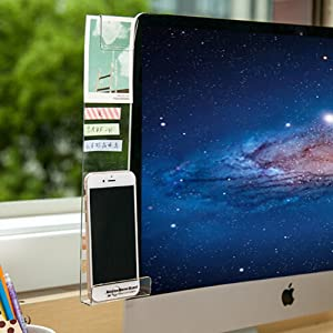 Home-organizer Tech Notes Holder and Reminder Memo Board for Computer Monitors Screen Acrylic Message Boards Memo Pads (Left)