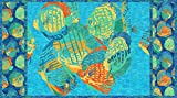 Northcott Shimmer Oasis Quilt Fabric 24' x 42' Fish Panel Style 22089M/44 Blue