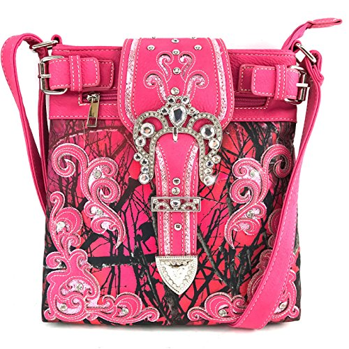 Justin West Camouflage Tree Branches Bling Rhinestone Cross Wings Handbag Purse Messenger Bags and Wallets (Buckle Hot Pink Messenger)