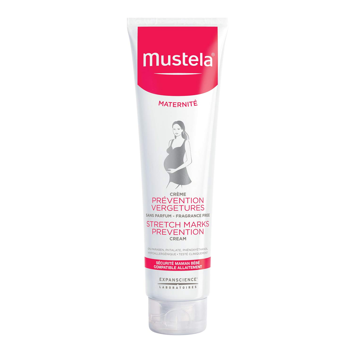 Mustela Stretch Mark Prevention Cream, Fragrance Free, with Natural Avocado Peptides, for Pregnancy