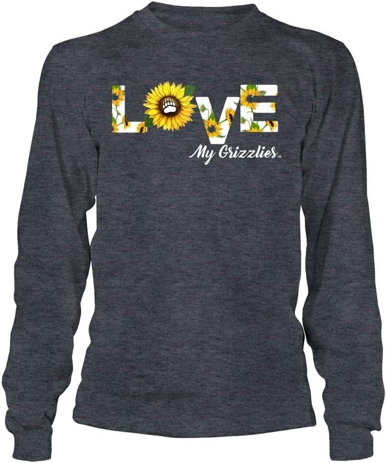 FanPrint Montana Grizzlies T-Shirt Sunflower Pattern Love My Team