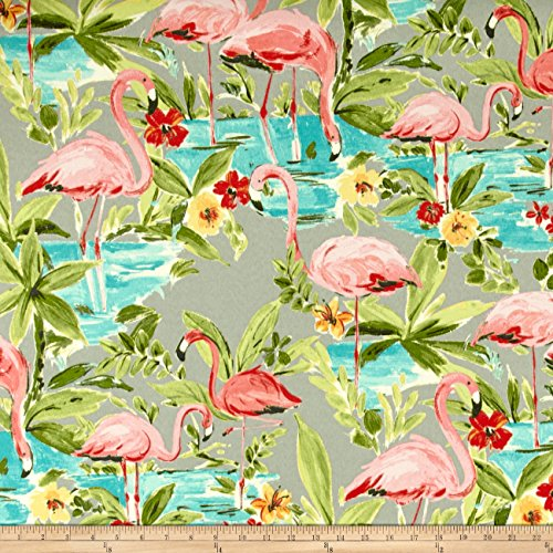 Waverly Sun N Shade Flamingoing Platinum Fabric By The Yard (Flamingo Outdoor Fabric)