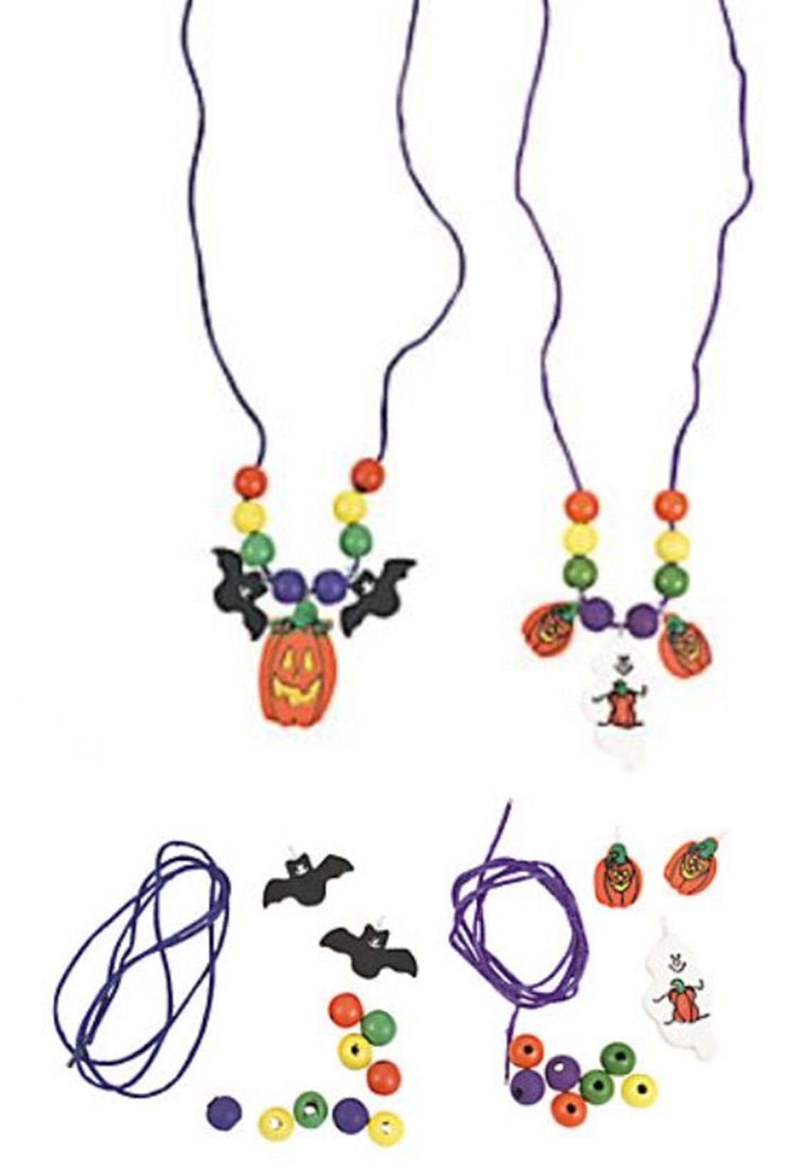 Wood Halloween necklace craft kits - 12 pack