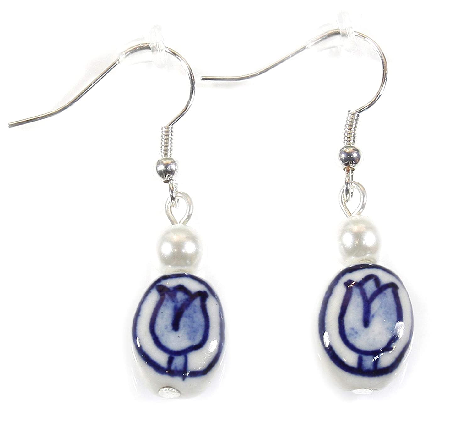 """Blue Delft"" Dutch Tulip Porcelain Earrings, 1.5 Inches"