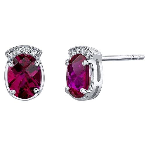 Sterling Silver Aura Stud Earrings in Various Gemstones
