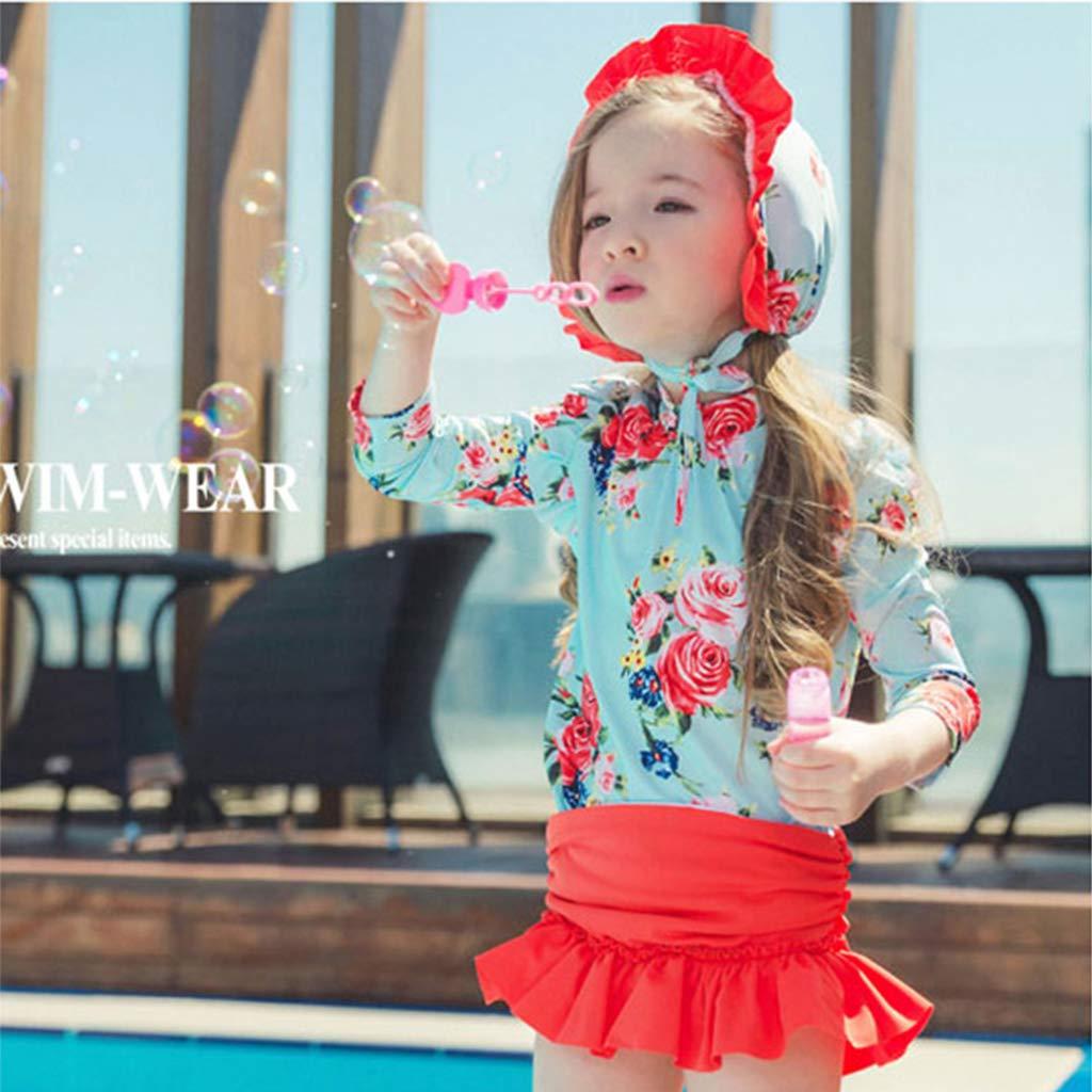 Bambina Costumi da Bagno Ragazza Tuta da Bagno UPF50 Protezione Solare Rash Guard Set 3 Pezzi