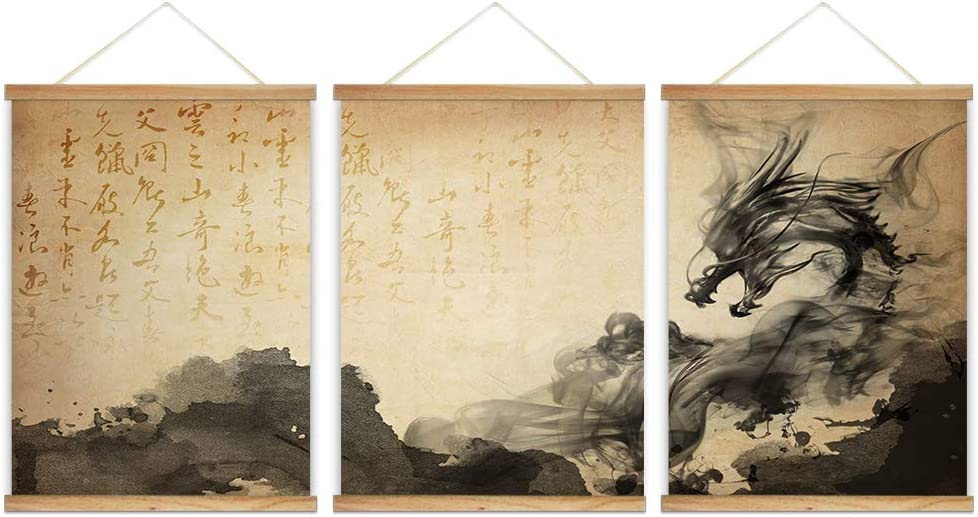 "wall26 - 3 Panel Hanging Poster with Wood Frames - Chinese Ink Painting Style Dragon - Ready to Hang Decorative Wall Art - 18""x24"" x 3 Panels"