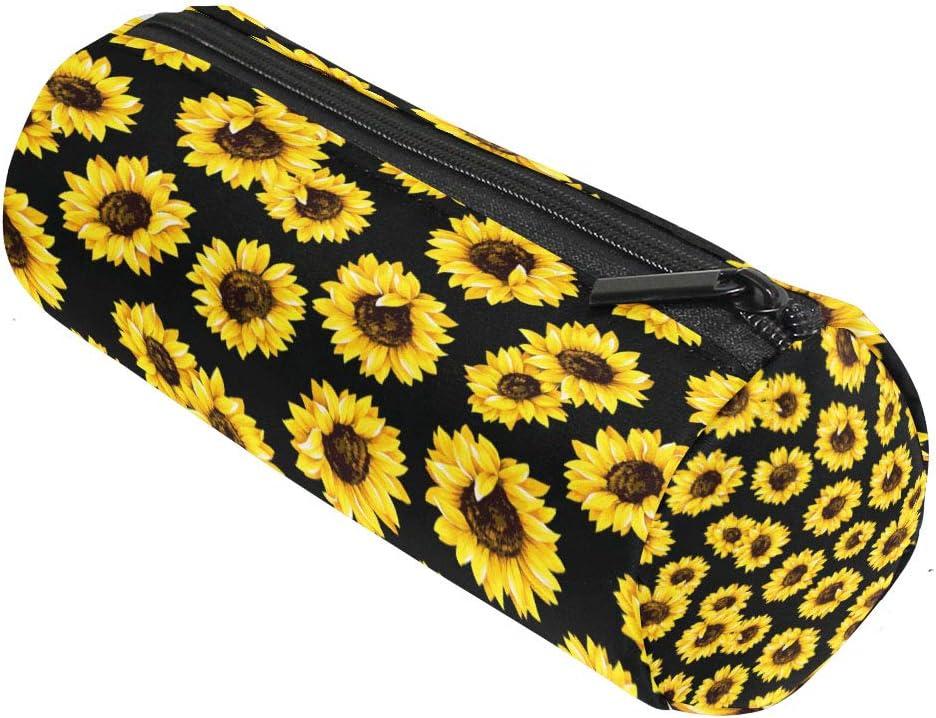 ALAZA Yellow Flower Sunflower Pencil Bag Pen Case Black Floral Pencil Pouch Pen Organizer Stationery Holder for Marker Organization School Supplies Office Storage Desk Organizing