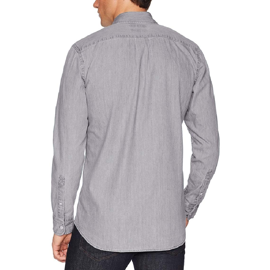 KaWaYi Mens Single-Breasted Retro Plus Size Jean Casual Work Shirt