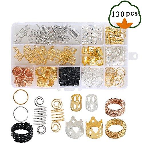 Hair Cuffs, ETSAMOR 130pcs Aluminum Hair Braiding Beads 5 Styles Hair Braid Rings with Box for Party, Fashion Show, Wedding, Bridal by ETSAMOR
