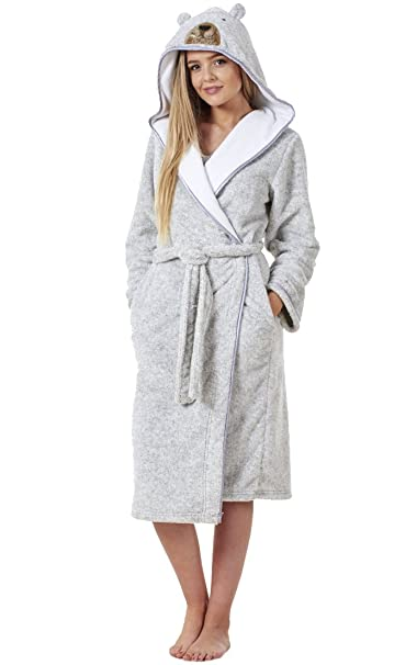 Bata para mujer - Muy suave y mullida - Apta para el invierno - Con bolsillos - Diseño de oso: Amazon.es: Ropa y accesorios