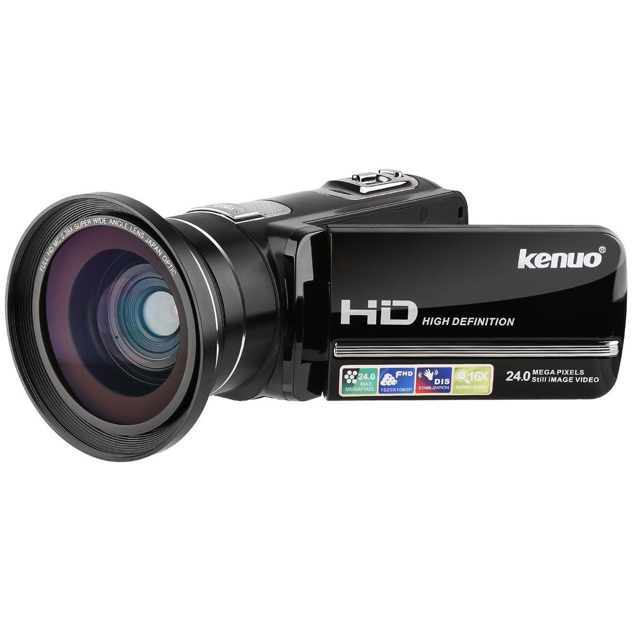 Camera Video Camera HD Camcorder,Kenuo 1080P 24MP HD Digital Recorder 3.0''TFT LCD Stabilization 270 Degree Rotation Screen Camera Bag Lithium Battery (Camera+Lens)