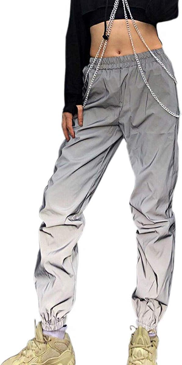 Greetuny 1pcs Personalidad Harajuku Pantalones Mujer Flash Reflectante Trousers Ocio Hip Hop Calle Jogger Deportivos Pants
