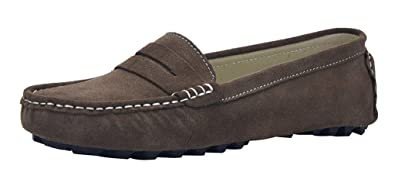 V.J Womens Casual Driving Moccasins Penny Loafers Fashion Khaki Suede Leather Dress Shoes Slip On Flats