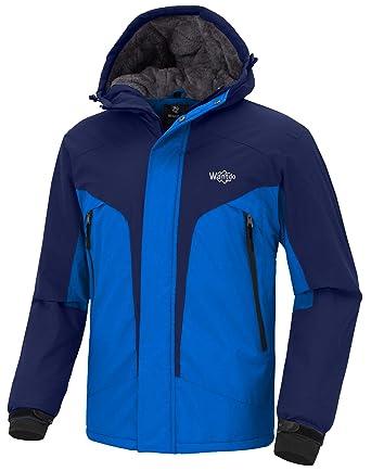 6ee5534621ad Wantdo Men s Hooded Skiing Jacket Mountaineering Insulated Rainwear Outdoor  Windproof Snow Coat for Hiking(Dark