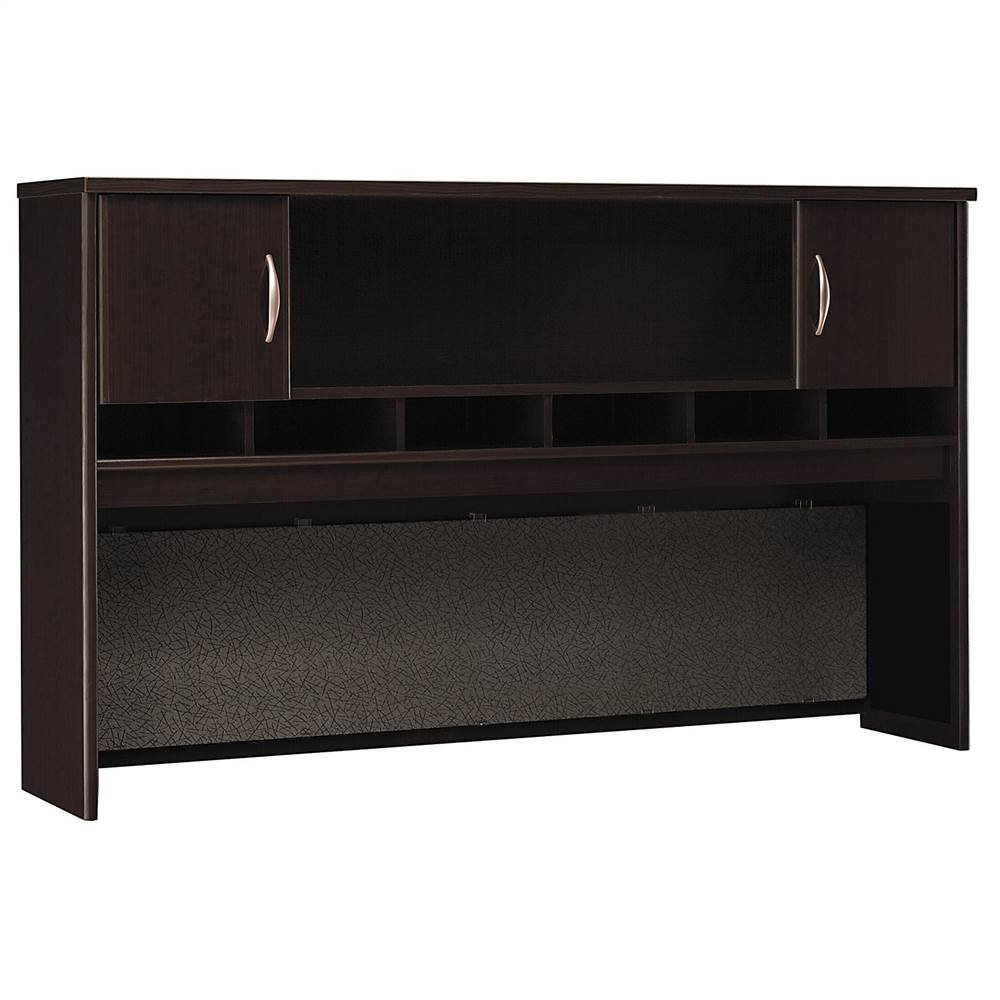 Desk Hutch w Fabric Covered Tackboard under Shelving - Series C