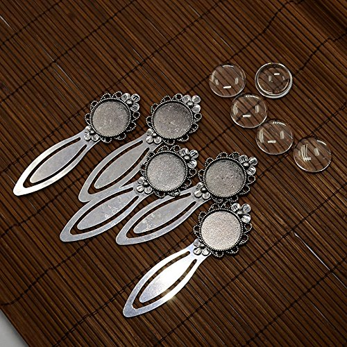 - Pandahall 5Sets Flat Round 20mm Antique Silver Flower Portrait Bookmark Makings Sets with Alloy Cabochon Bezel Blank Cover Setting & Domed Transparent Clear Glass Cabochon Magnifying Photo Image Tile