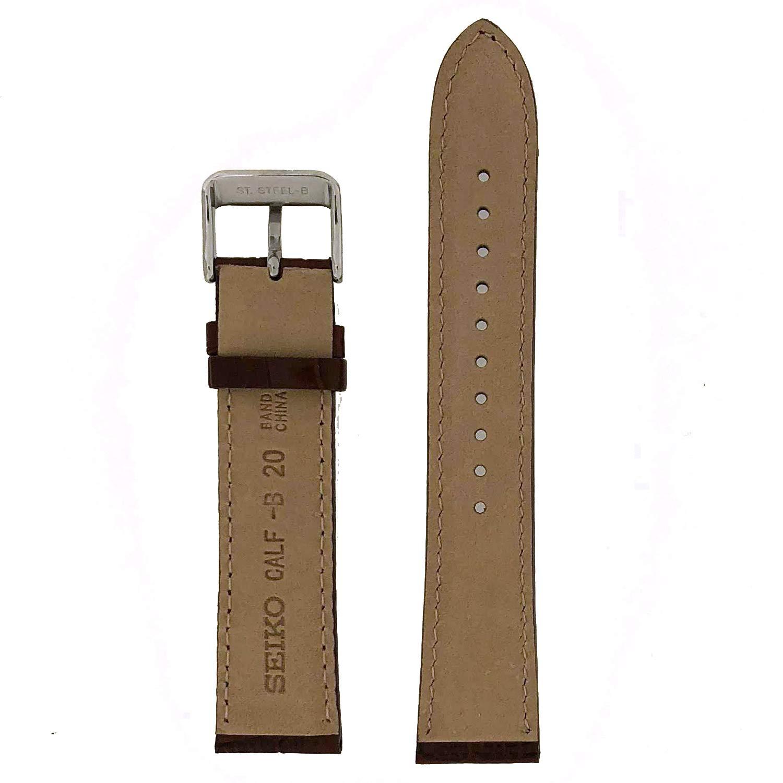 889f3b38462 Seiko Genuine Textured Brown Leather Alligator Grain 20Mm Watch Band -  Brown