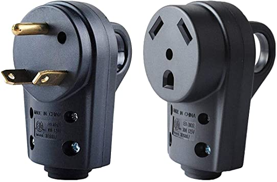 125V 30AMP RV Replacement Male Plug RV Electrical Plug Adapter with Easy Unplug Handle Design 30Amp RV Male Plug