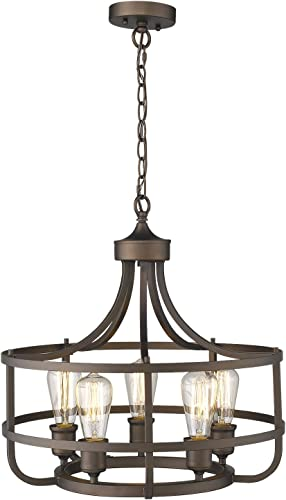 Zeyu 5-Light Industrial Round Chandelier, 20 Inch Farmhouse Kitchen Pendant Light for Dining Room, Oil Rubbed Bronze Finish, 9808-5P ORB